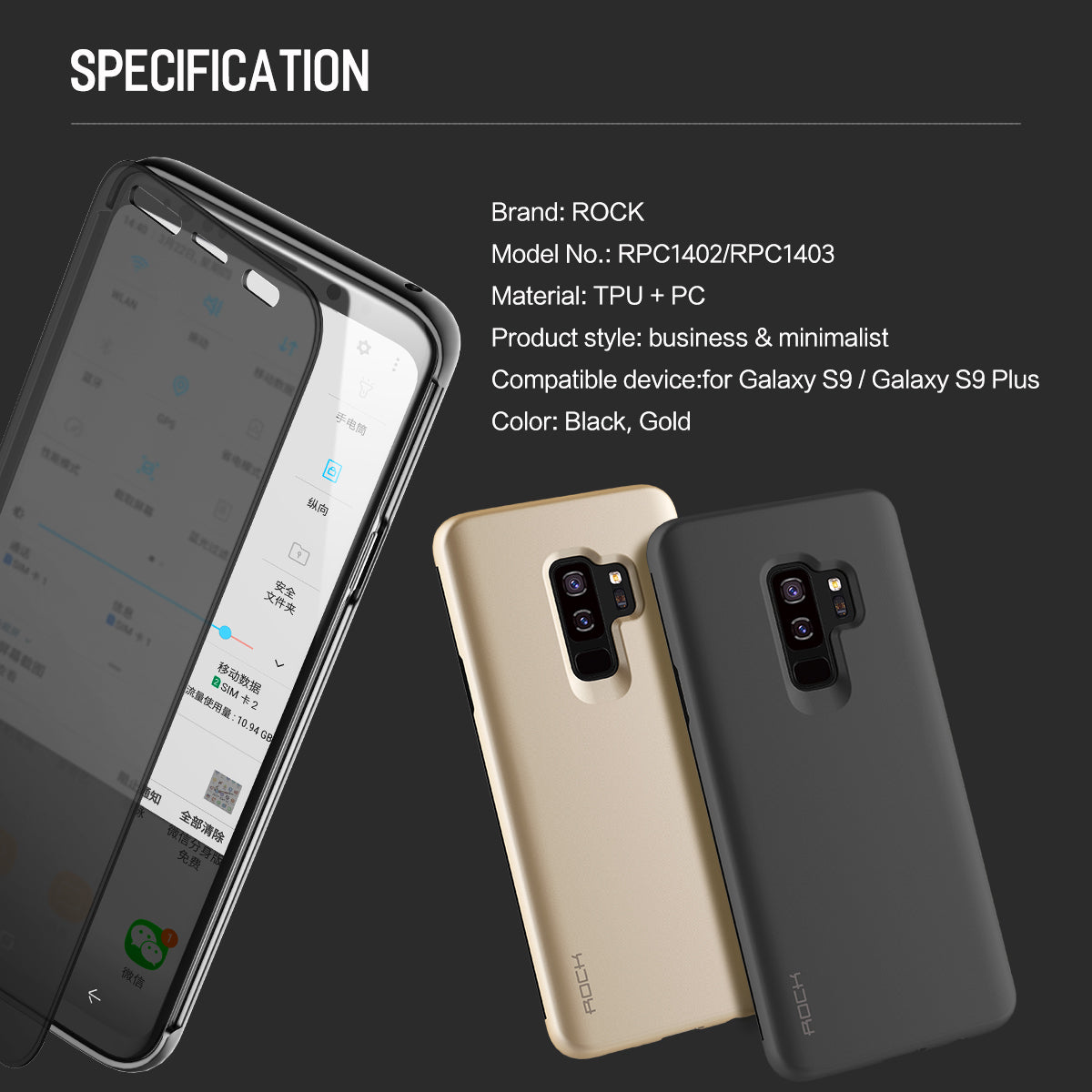 Luxury See through Pick Call from Top with Working Touch Flip Case for Samsung Galaxy S9