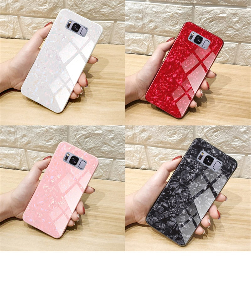 Luxury Marble Finish Bling Shell Tempered Glass Hard Back Case Cover for Samsung Galaxy S8 Plus