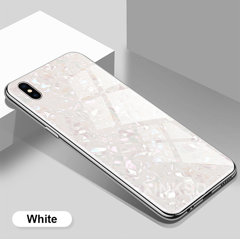 big sale bbb29 97649 Premium Smooth & Shiny Marble Pattern Hard Glass Back Case Cover for Apple  iPhone X / XS