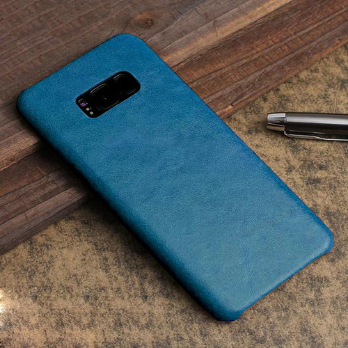Luxury Leather Finish Anti Knock Hard PC Back Case Cover with Back Screen Guard for Samsung Galaxy S8
