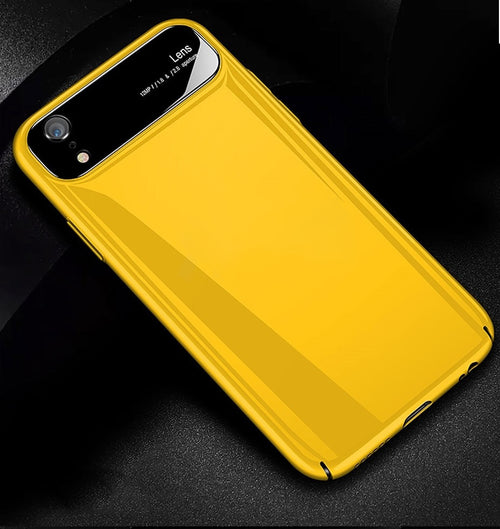 Luxury Glossy Mirror Tempered Glass Camera Protection Hard Back Case Cover for Apple iPhone XR