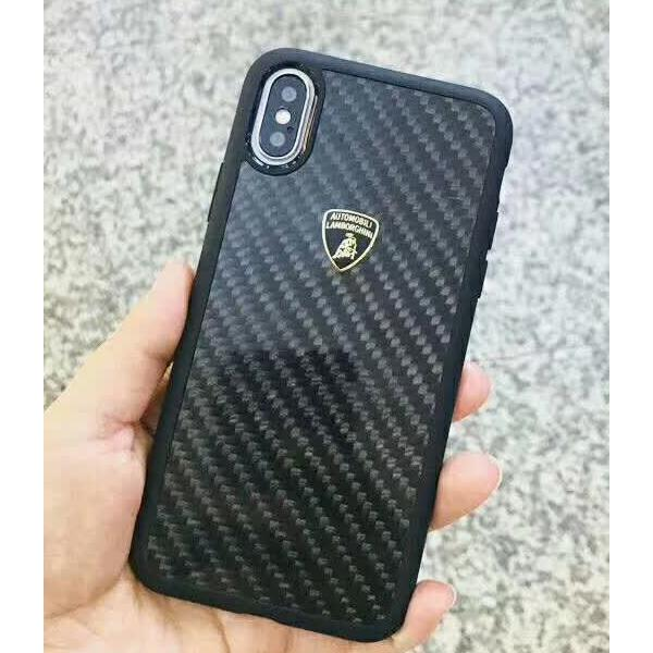 Luxury Genuine Leather & Carbon Fiber Hybrid Official Lamborghini Elemento D3 Series Anti Knock Back Case Cover for Apple iPhone X / XS 2018 - BLACK