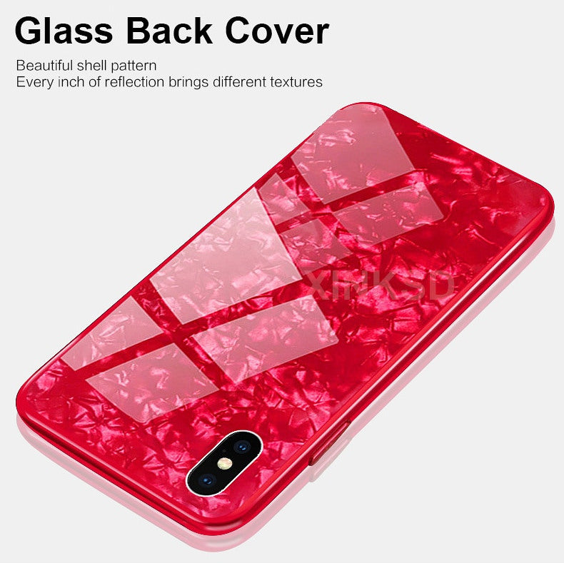 Premium Smooth & Shiny Marble Pattern Hard Glass Back Case Cover for Apple iPhone X / XS