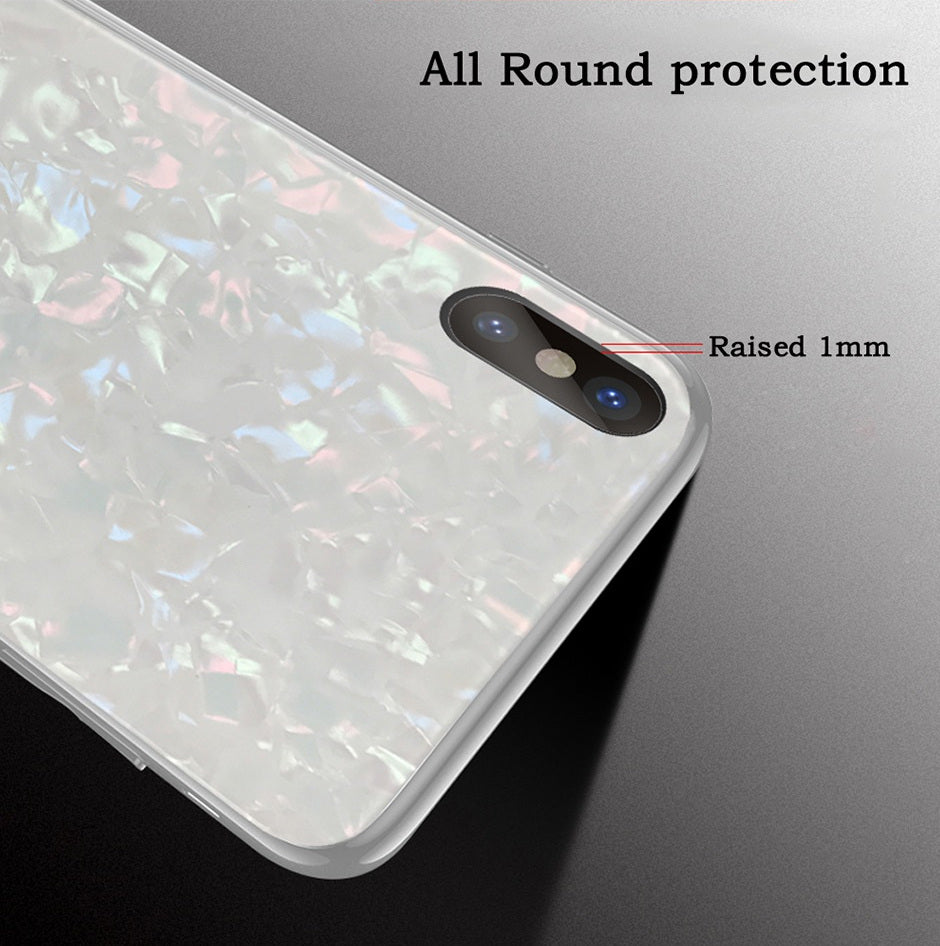 "Premium Smooth & Shiny Marble Pattern Hard Glass Back Case Cover for Apple iPhone XS Max (6.5"")"