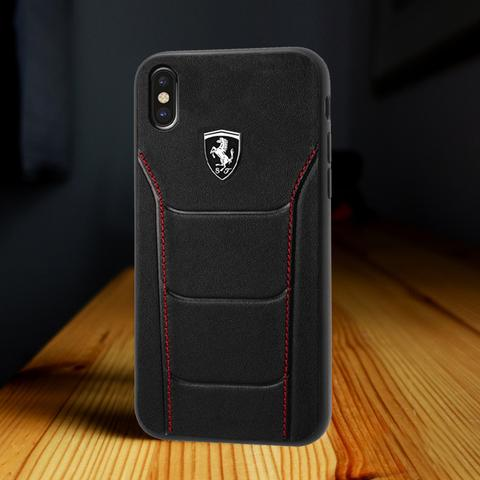 "Luxury Scuderia Ferrari Genuine Leather Hand Crafted Hard Back Case Cover for Apple iPhone XS Max (6.5"")"
