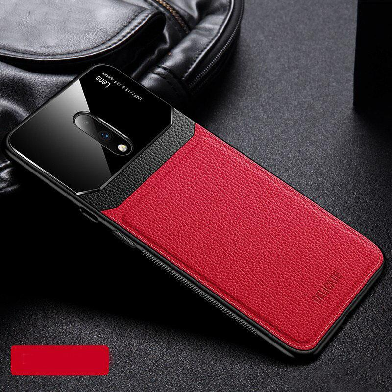 Luxury Slim Leather Lens Case with Card Slot for OnePlus 7