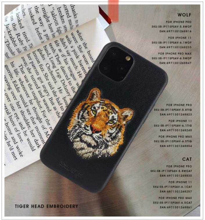 "Santa Barbara Polo & Racquet Club Savanna Series Genuine Leather Case for Apple iPhone 11 Pro 5.8"" - Tiger"