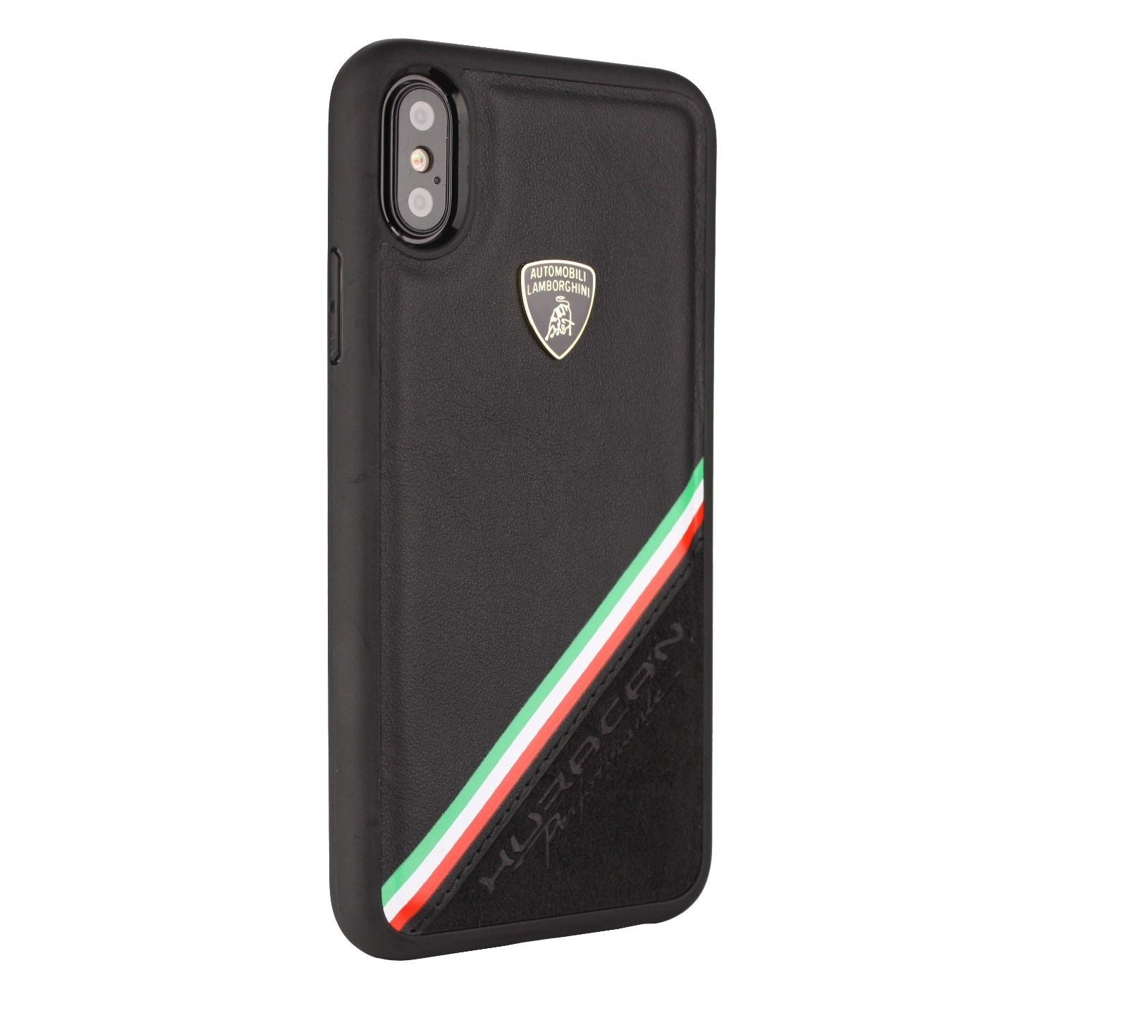 Luxury Genuine Leather & Carbon Fiber Hybrid Official Lamborghini Huracan D11 Series Drop Protection Back Case Cover for Apple iPhone X / XS 2018