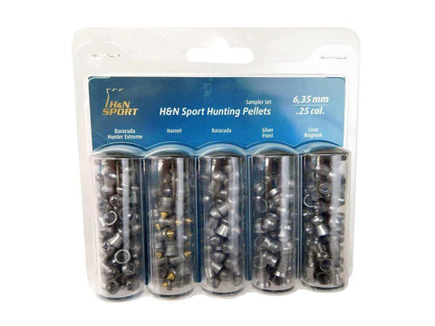 H&N Sport Hunting Pellets Sampler Set, 5 Types, .25 Cal