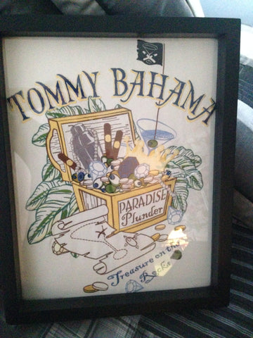 Tommy Bahama tee shirt framed and displayed in a Shart T-Shirt Frame Display Case