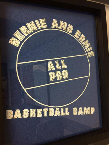 Bernie and Ernie All Pro Basketball Camptee shirt framed and displayed in a Shart T Shirt Frame Display Case