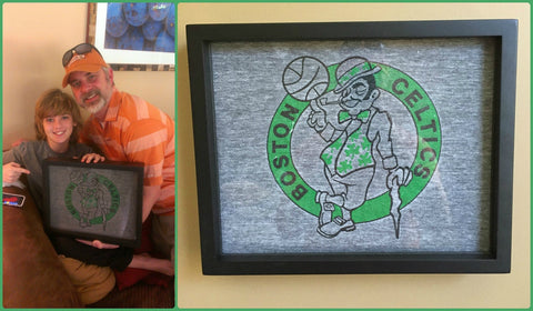 Boston Celtics tee shirt framed and displayed in a Shart T Shirt Frame Display Case