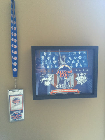 MLB All Star Game at Citi Fieldtee shirt framed and displayed in a Shart T Shirt Frame Display Case