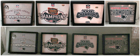 NFL New England Patriots tee shirts framed and displayed in a Shart T Shirt Frame Display Case, Tom Brady