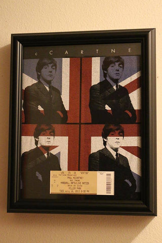 The Beatles Paul McCartney Tee Shirt with Ticket Stub framed and displayed in a Shart T Shirt Frame Display Case