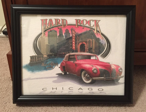 Hard Rock tee shirt framed and displayed in a Shart T Shirt Frame Display Case