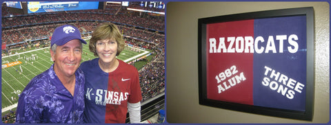 NCAA Arkansas Razorbacks and Kansas State Wildcats  tee shirt framed and displayed in a Shart T Shirt Frame Display Case