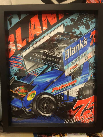 Tyler Blanks Racing tee shirt framed and displayed in a Shart T-Shirt Frame Display Case