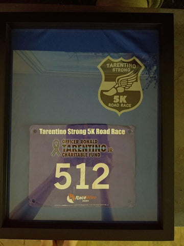 #Tarentino Strong 5 K Road Race T-Shirt Framed and Displayed in Shart Original T-Shirt Display Frame