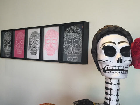 Day of the Dead tee shirt framed and displayed in a Shart T-Shirt Frame Display Case