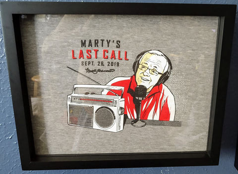 Marty Brennaman Tee Shirt Framed and Displayed in Shart Original T-Shirt Display Frame