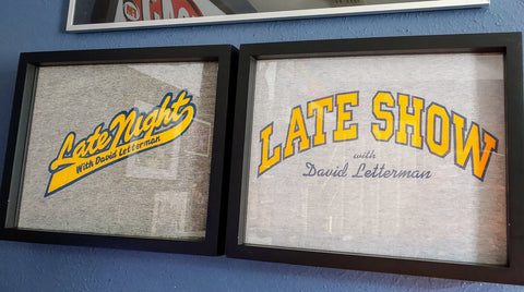David Letterman Tee Shirts Framed and Displayed in Shart Original T-Shirt Display Frame #letterman