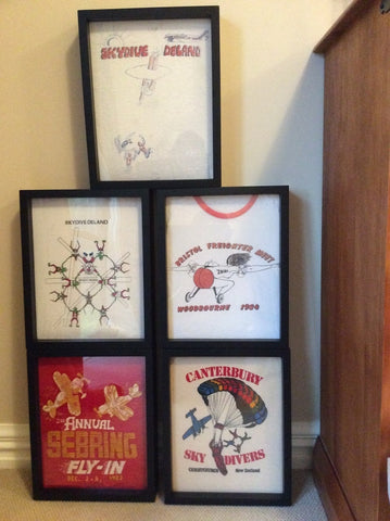 Sky Diving tee shirts framed and displayed in a Shart T-Shirt Frame Display Case