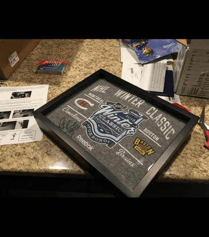 2016 Winter Classic tee shirt framed and displayed in a Shart T-Shirt Frame Display Case