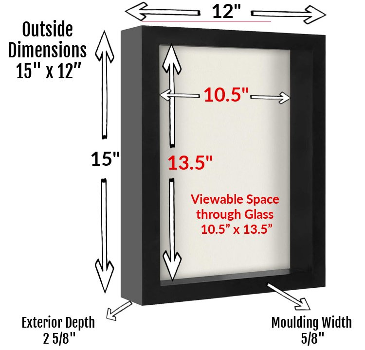 Shart T-Shirt Frames are designed to fit youth medium to any adult size tee shirt.  Viewable Space through the glass is 10.5 inches to 13.5 inches.