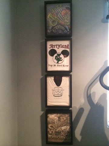 Grateful Dead Tee Shirt Collection framed and displayed in a Shart T Shirt Frame Display Case