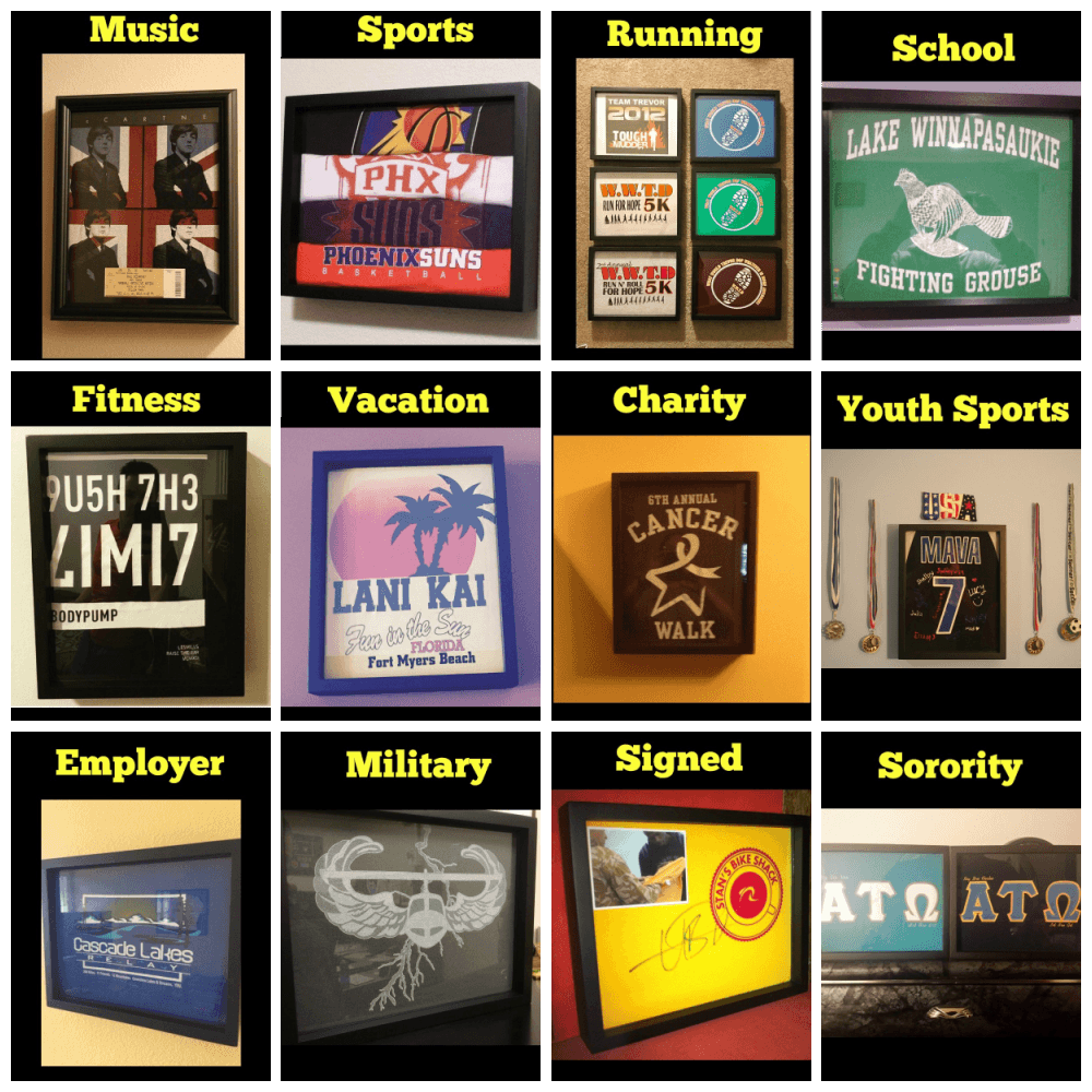 Shart® shirt frames make Great Gifts for sports fans, music lovers, athletes, students, tee shirt fanatics and more.