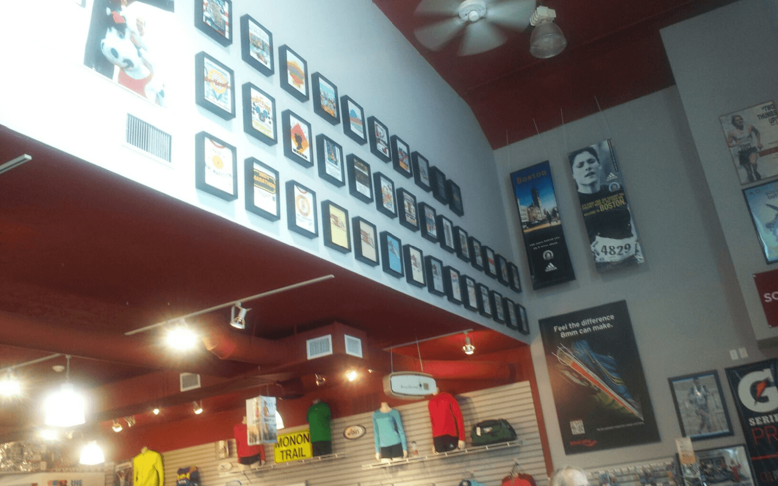 Large retail display of Shart T-Shirt Frames at running store in Indianapolis, Indiana