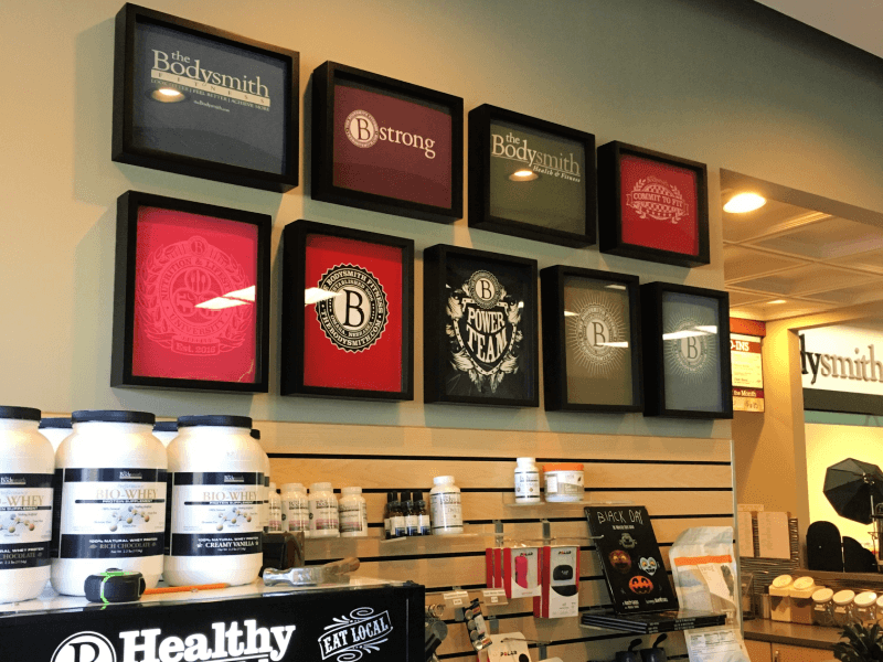 Shart T-Shirt Frame Retail Display at the Bodysmith.  The Shart T-Shirt frames are displayed horizontally and vertically.
