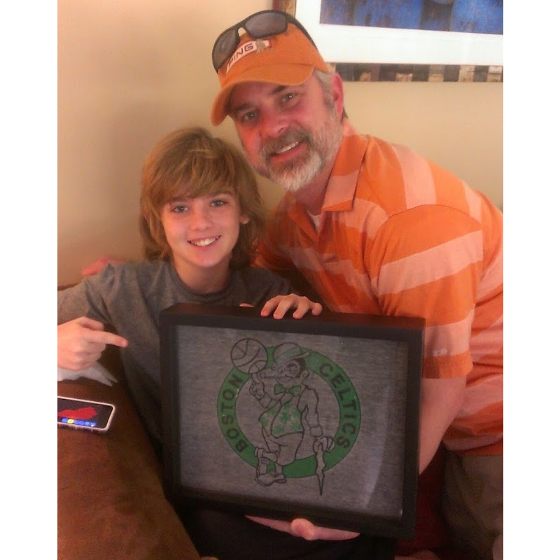 Happy Customer testimonial from Shart.com with Boston Celtics T-Shirt Displayed in Shart T-Shirt Frame