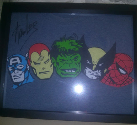 Signed Stan Lee Marvel Comics tee shirt framed and displayed in a Shart T Shirt Frame Display Case