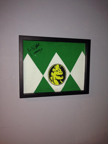 Signed Green Power Ranger Jason David Frank tee shirt framed and displayed in a Shart T Shirt Frame Display Case