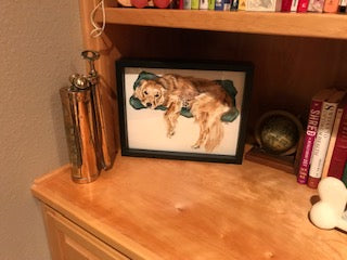 Hand Painted Dog Art in Shart Original Tee Shirt Frame
