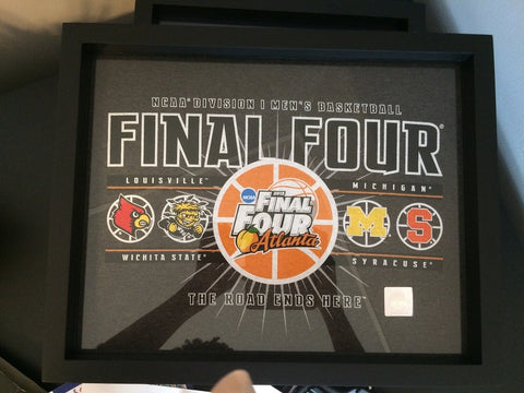 NCAA College Basketball Final Four tee shirt framed and displayed in a Shart T Shirt Frame Display Case with University of Louisville Cardinals, Wichita State Shockers, University of Michigan Wolverines and Syracuse Orange