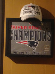 NFL New England Patriots Super Bowl Champions tee shirts framed and displayed in a Shart T Shirt Frame Display Case, Tom Brady