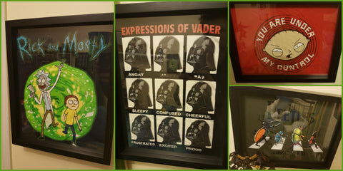Rick and Morty, Star Wars Darth Vader, Family Guy, Beetle tee shirts framed and displayed in a Shart T-Shirt Frame Display Case