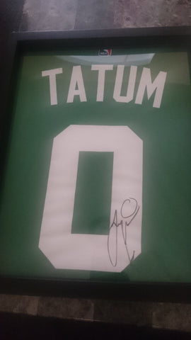Signed NBA Boston Celtics Jayson Tatum tee shirt framed and displayed in a Shart T-Shirt Frame Display Case