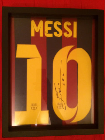Signed Lionel Messi tee shirt framed and displayed in a Shart T Shirt Frame Display Case