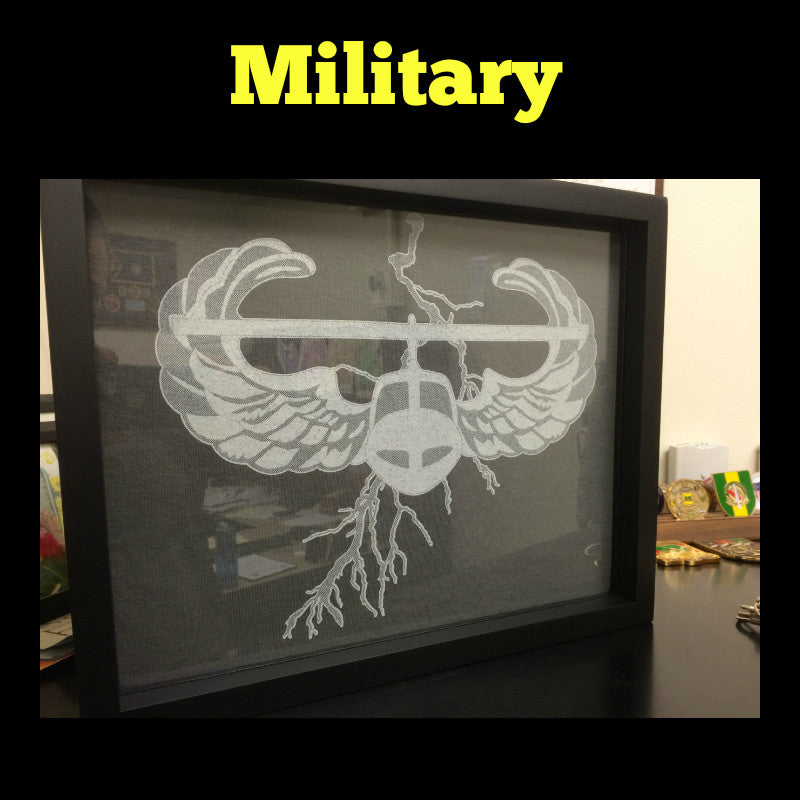 Framed Military (Army, Navy, Air Force, Marines, Coast Guard) T-Shirt displayed in Shart T-Shirt Frame