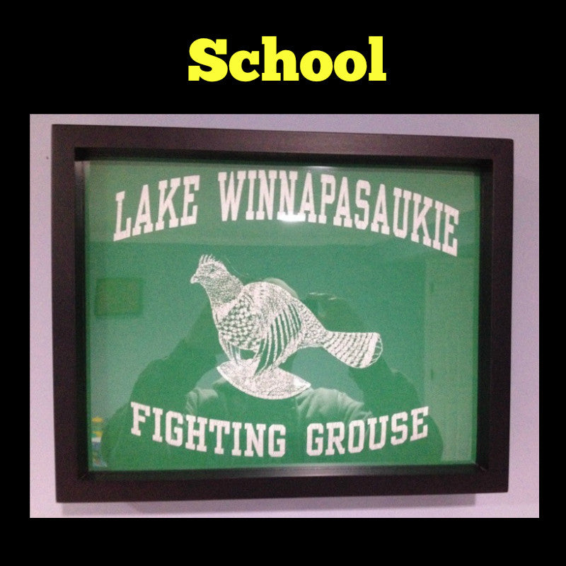 Framed School T-Shirt displayed in Shart T-Shirt Frame