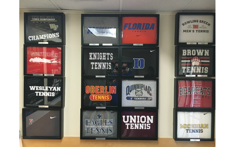 John Mcenroe Tennis Academy T Shirt Collection framed and displayed in a Shart T-Shirt Frame Display Case