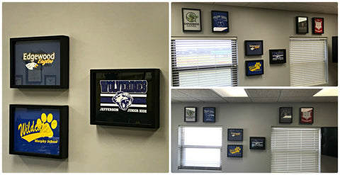 Woodridge School District 68 T Shirt Frame Display using Shart Original Tee Shirt Frames.  Great for home and office decoration!