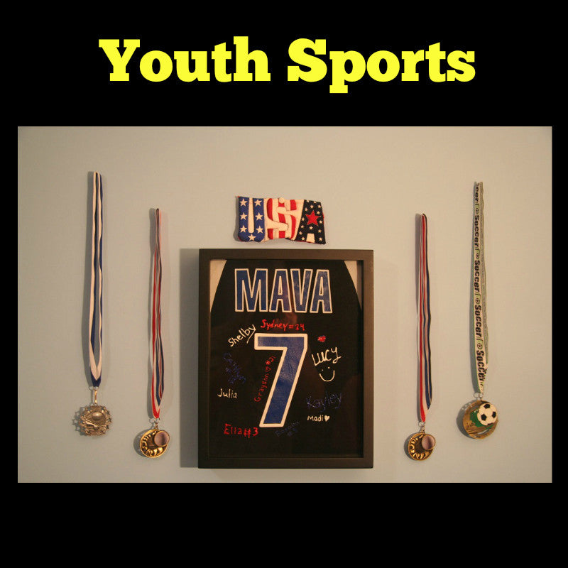 Framed Youth Sports T-Shirt displayed in Shart T-Shirt Frame, Youth Basketball, Youth Soccer, Youth Volleyball, Youth LaCrosse