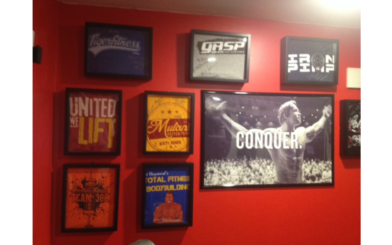Shart T-Shirt Display Frames are Great Decoration for fitness centers, home gyms and gyms