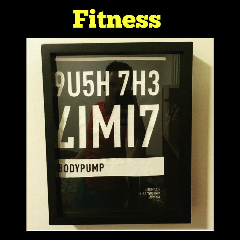 Framed Fitness and Gym T-Shirt displayed in Shart T-Shirt Frame, Great Decoration for Fitness Centers, home gyms, gyms and other athletic facilities