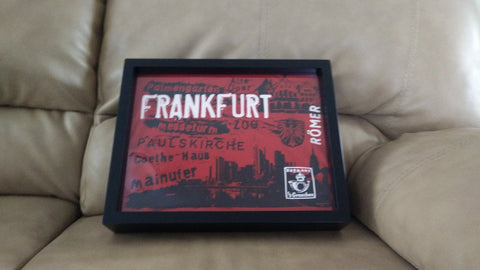 Frankfurt tee shirt framed and displayed in a Shart T-Shirt Frame Display Case
